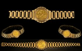 Elizabeth II 22ct Gold Half-Sovereign Set Bracelet. Bracelet fully hallmarked for 9.375.