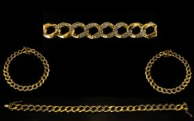 9ct Gold Curb-Link Bracelet Set with Diamonds. Fully hallmarked for 9ct - 375.