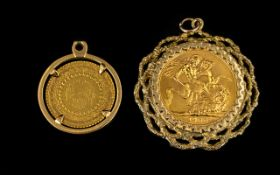 Elizabeth II 22ct Gold Full Sovereign Date 1966 with 9ct gold pendant/mount. Fully hallmarked.