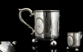 Victorian Period Christening Silver Mug / Cup, Raised on 3 Ball Feet,