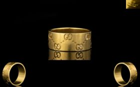 Gucci - Signed 18ct Gold Wedding Band with Gucci Logo to Exterior of Ring and Signed ' Gucci ' To