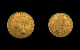 Queen Victoria High Grade 22ct Gold Young Head - Shield Back Half Sovereign - Date 1885.