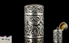 Victorian Period Ornate Silver Cased Perfume Bottle of Cylindrical Form,