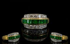 Ladies - Superb Quality 18ct Gold and Platinum Emerald and Diamond Set Dress Ring,