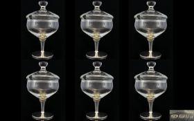 Elizabeth II Contemporary Designed Set of Six Wonderful Silver and Glass Sundae / Ice cream
