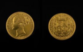 Queen Victoria Young Head - Shield Back 22ct Gold Full Sovereign - Date 1862. London Mint.