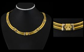 Bvlgari - Wonderful Iconic Ladies 18ct Two Tone Gold Necklace, Excellent Design. Marked 18ct. c.