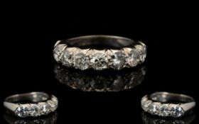 Ladies 18ct White Gold Seven Stone Diamond Ring From The 1930'S of Excellent Quality.