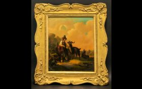 19thC Portrait of an Italian boy looking after two goats on a Country Track at Dusk, unsigned oil on