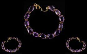 Antique Period - Attractive 9ct Gold Amethyst Set Bracelet. c.1900.