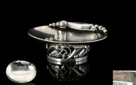 Georg Jensen Sterling Silver Oval Footed Salt Dish By Alphonse La Paglia Circa 1952,
