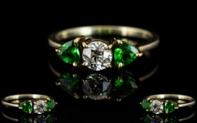 18ct Gold - 3 Stone Green Tourmaline and Diamond Ring of Superb Quality.