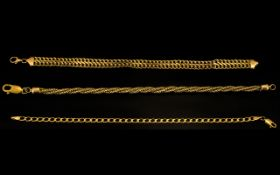 A Small Collection of Ladies 9ct Bracelets of Various Designs and Lengths ( 3 ) Three In Total.