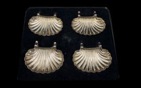 An Edwardian Period Superb Silver Set of ( 4 ) Four Scallop Dishes, Boxed.