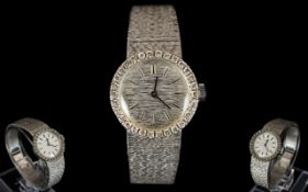 Longines Nice Quality Ladies 18ct White Gold Mechanical Wrist Watch with Integral 18ct Gold