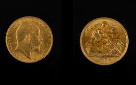 Edward VII 22ct Gold Half Sovereign - Date 1904. London Mint.