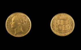 Queen Victoria Young Head / Shield Back 22ct Gold Full Sovereign - Date 1872. London Mint.