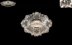 Late Victorian Excellent Quality - Large Sterling Silver Ornate Pierced and Open worked Bon Bon