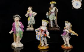 A Small Collection of Fine Mid-19th Century Handpainted Miniature Porcelain Figures (5) from various