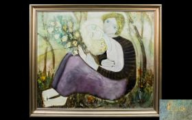 Rosina Lyford (British 1936 - ) Untitled Oil On Canvas An early work depicting young lovers