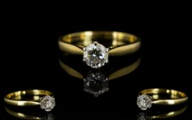18ct Gold Single Stone Diamond Dress Ring, Fully Hallmarked for 18ct.