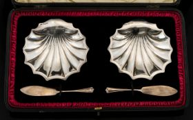 Edwardian Period - Boxed Pair of Silver Butter Dishes In The Form of Shells,