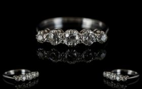18ct White Gold 5 Stone Diamond Ring. The Old Cut Diamonds of Good Colour / Clarity, Est Diamond
