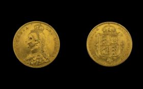 Queen Victoria High Grade 22ct Gold Shield Back - Jubilee Head Half Sovereign - Date 1887. E.F.
