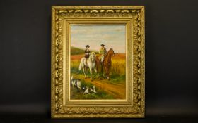 Original Oil On Canvas Signed to lower left 'W.M Sinclair' depicting two 18th century figures on