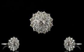 18ct White Gold Large - Impressive Diamond Set Cluster Ring In a Flower Head Design.