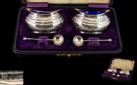 A Good Pair of Boxed Early 20th Century Silver Salts, Complete with Blue Liners and Matching Spoon.