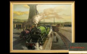 P.H Marriner British 20th Century Artist Oil On Canvas 'The Flying Scotsman At Central Station