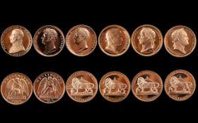 Bottle of Waterloo - Set of Commemorative Bronze Replica Medals ( 6 ) Six In Total.