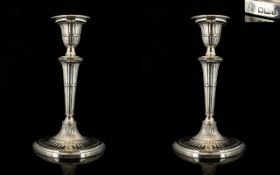 Victorian Period Superb Quality Pair of Silver Candlesticks of Superb Proportions and Form.