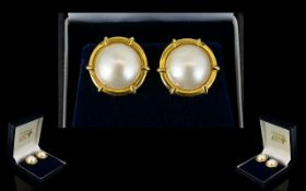 A Pair Of 14ct Gold Faux Pearl Stud Earrings Oversized,