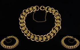 Antique Period 9ct Gold Bracelet - heavy and attractive, curb and rope twist bracelet.