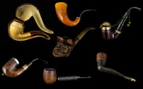 A Good Collection of Assorted Antique Gentleman's Tobacco Pipes ( 7 ) Seven In Total.