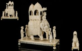 Finely Carved 19th Century Indian Ivory Figure In The Form Of An Elephant With Hathi Howdah And