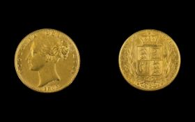 Queen Victoria 22ct Gold - Young Head Shield Back Sovereign - Date 1863.