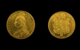 Queen Victoria Superb 22ct Gold - Shield Back Jubilee Head Half Sovereign - Date 1887.