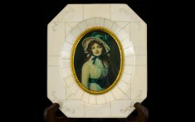 20th Century Portrait Miniature In piano key frame, depicting a Gainsborough girl in oval aperture.