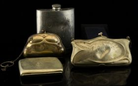 A Small Collection Of Late 19th/Early 20th Century Silver Plated Minaudieres And Cigarette Cases
