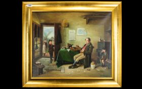Untitled Oil On Canvas Housed in yellow gilt contemporary frame,
