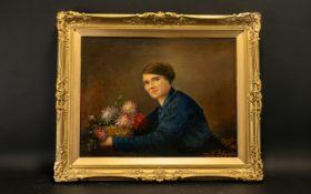 V Denayer (Jumet Belgique) Oil on Canvas Board, signed and dated 1918 (verso lived 1874-1924)