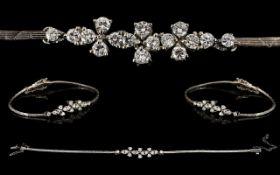 18ct White Gold Attractive Diamond Set Bracelet of Elegant Form.
