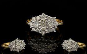 Ladies - Attractive 18ct Gold Princes Cut and Brilliant Cut Diamond Dress Ring.