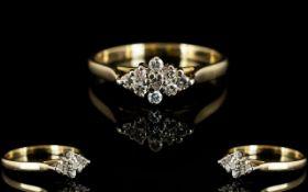 18ct Gold Attractive Diamond Set Dress Ring ' Star Burst ' Design. Hallmarked Rubbed.