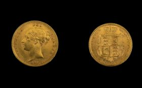Queen Victoria High Grade 22ct Gold Young Head / Shield Back Half Sovereign - Date 1884.