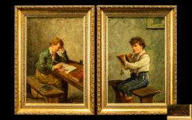 Alexander Austen (British, 1859-1924) A Pair Of Oil On Canvas Depicting Young Scholars Each signed