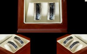 Stephen Webster Crystal Haze 18ct White Gold Diamond And Hematite Set Earrings Fully hallmarked,